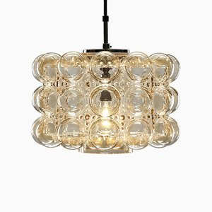Vintage Pendant Lamp in Bubble Amber Glass by Helena Tynell for Limburg, 1960s