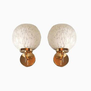 Gold Metal and Painted Glass Sconces, Set of 2