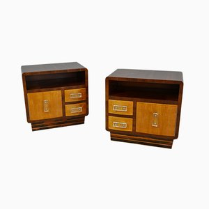 Walnut Bedside Tables, Italy, 1940s, Set of 2