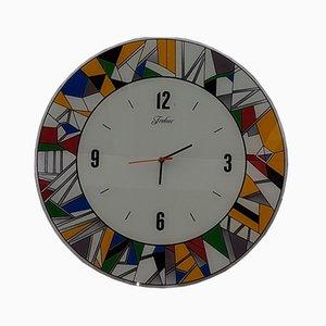 Large Frabur Glass Wall Clock