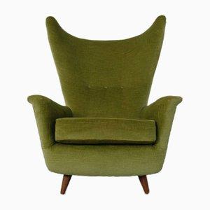 Italian Mohair Wingback Chair, 1950s