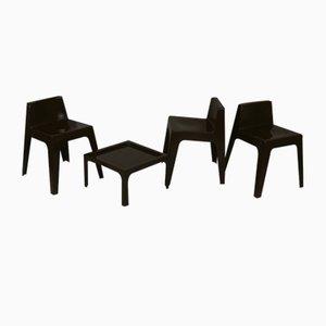 Fiberglas Stühle und Couchtisch aus Fiberglas, Frankreich, 1970er, 4er Set
