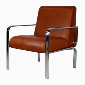 Chromed Steel and Faux Leather Chair, France, 1970s