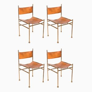 Brass and Leather Chairs, Set of 4