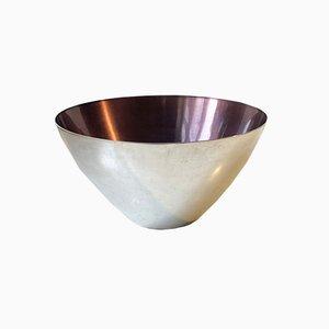 Mid-Century Bowl in Silver Plate & Purple Enamel from Dgs, 1950s