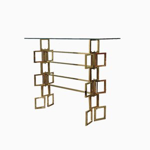 Brass and Glass Italian Console, 1980s