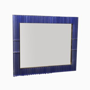 Murano Periwinkle Glass and Brass Wall Mirror, 1980s