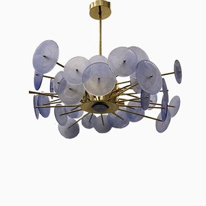 Murano Periwinkle Glass Round Chandelier, 1980