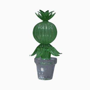 Murano Formia Green Art Glass Cactus Plant by Marta Marzotto, 1990s