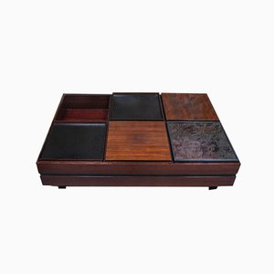 Rosewood Coffee Table with Containers by Claudio Salocchi for Sormani Italy, 1960s