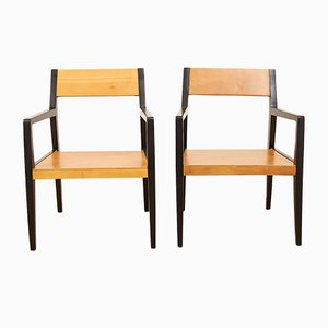Framed Hardwood Painted Black Chairs from Horgen Glarus., Set of 2