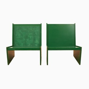 Hardwood Edges Green Stained Chairs, Set of 2