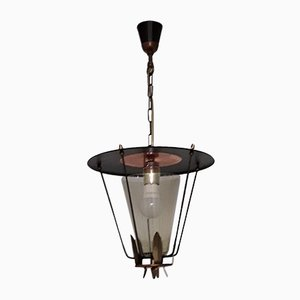 Vintage Lantern Ceiling Lamp in Black Lacquered Iron with Brass and Copper Trim & Open Conical Shade in Tinted Glass, 1960s