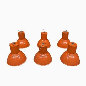 Orange Lacquered Metal Suspension Lamp