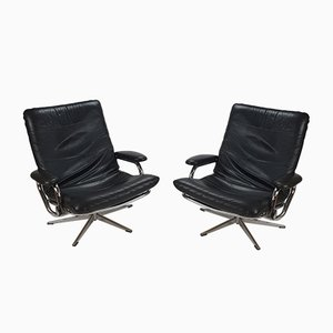 Vintage Leather and Chrome Lounge Chairs, 1970s, Set of 2