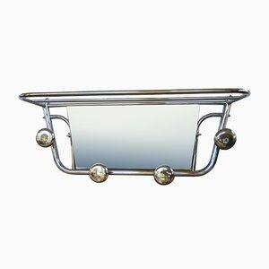 Unidad de pared colgante de aluminio con espejo, años 40