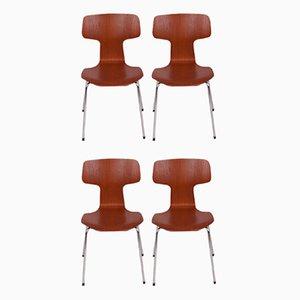 Modell 3103 Esszimmerstühle von Arne Jacobsen für Fritz Hansen, 1970er, 4er Set
