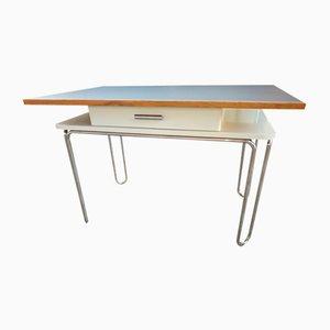 Funktionalistischer Rohrförmiger Schreibtisch mit Schublade, Tschechoslowakei, 1930er