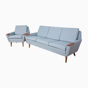 Mid-Century Danish Sofa and Armchair, 1960s, Set of 2