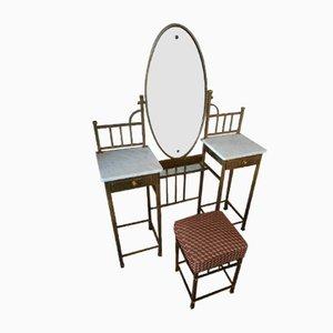 Toeletta Art Nouveau in ottone con specchio e sgabello, inizio XX secolo
