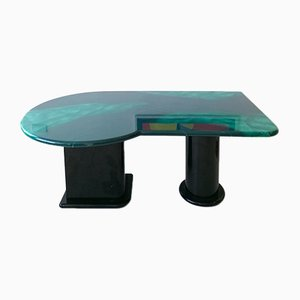 Postmodern American Faux Malachite Lacquered Asymmetric Desk / Dining Table, 1980s