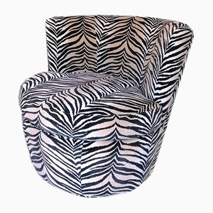 Large Vintage Zebra Print Swivel-and-Return Lounge Chairs from Younger Furniture, USA, 1980s, Set of 2