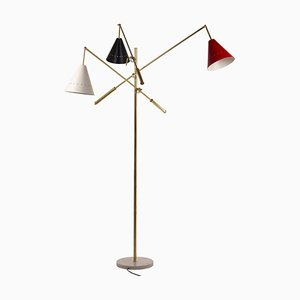 Italian Floor Lamp with Articulated Arms, Adjustable Lacquered Brass Lampshade & Marble Base from Arredoluce