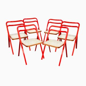 Mid-Century Folding Chairs by Giorgio Cattelan for Cidue, Italy, 1970s, Set of 6
