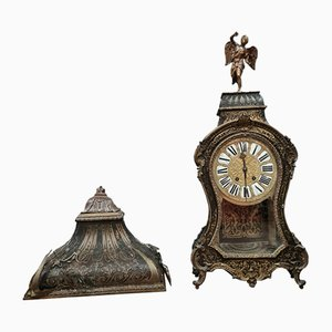 Louis XV Boulle Cartel in Blackened Wood and Gilt Brass Marquetry