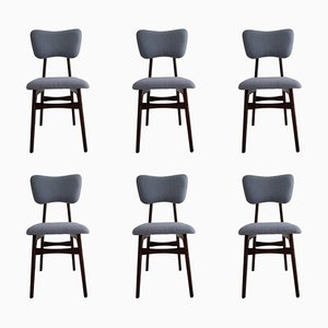 20th Century Chairs in Blue Wool and Wood, 1960s, Set of 6
