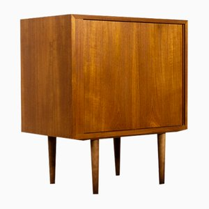 Small Teak Cabinet with Tambour Door by Carlo Jensen for Hundevad & Co., 1960s