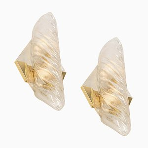 Large Vanity Angular Murano Glass Sconces by Hillebrand for Hillebrand Lighting, Germany, 1960s, Set of 2