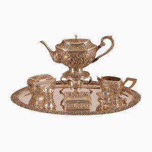 Antikes Teeservice aus Sterlingsilber, 9er Set