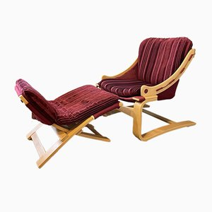 Mid-Century Kroken Lounge Chair and Foot Stool by Åke Fribyter for Nelo Möbel, 1970s