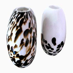 Murano Glasvasen mit Leopardenmuster von Carlo Nason, 2er Set