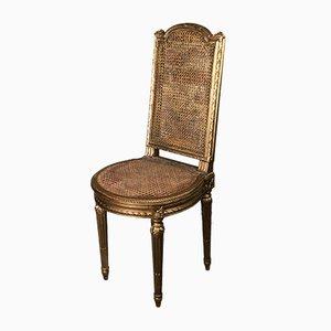 Napoleon III Musik- oder Schlafzimmerstuhl aus geschnitztem vergoldetem Holz & Schilfrohr
