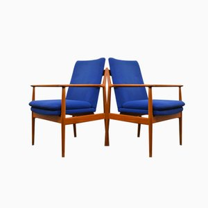 Model 341 Teak Lounge Chairs by Arne Vodder for Sibast, Set of 2