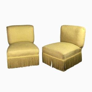 Stühle mit gelbem Bezug, 1960er, 2er Set