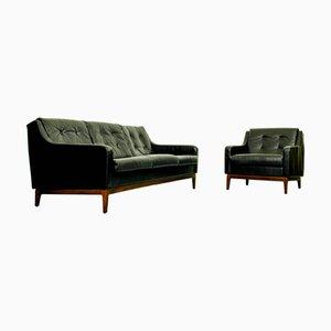 Canapé Vintage en Cuir Noir, Set de 2