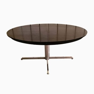 Black Wooden Dining Table with Integrated Butterfly Extension