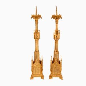 Französische Kronleuchter aus vergoldeter Bronze, 19. Jh., 2er Set