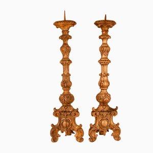 18th Century Italian Candelabra Gilt Wood Hand Carved Baroque Church Altar Candlesticks Pricket Candleholders, Set of 2