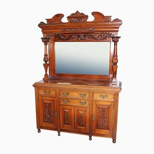 Large Carved Walnut Sideboard with Mirror Back, 1900s
