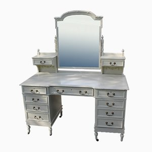 Large White Painted Dressing Table with Mirror, 1920s