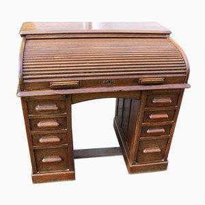 Large Oak Bend Roll Top Desk, 1920s