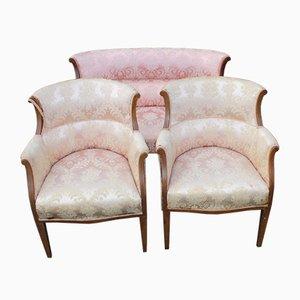 Mahagoni 2-Sitzer Sofa und 2 Sessel in Rosa, 1910er, 3er Set