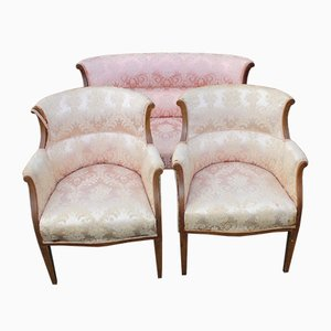 Mahogany 2-Seat Sofa and 2 Tub Chairs in Pink, 1910s, Set of 3