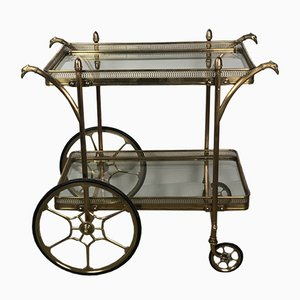 Vintage Brass Serving Trolley from Maison Jansen, 1960s