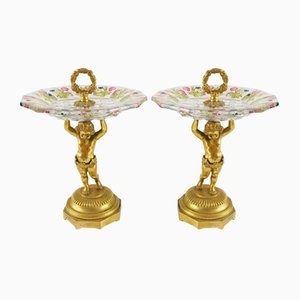 Gilded Bronze, Dark and Colored Crystal Stands, Austria, Late 19th Century, Set of 2