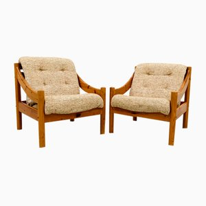 Mid-Century Danish Lounge Chair in Pine Wood and Wool from Domino Møbler, Set of 2